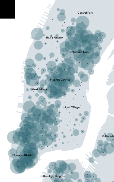 Via NewYorker (January 20th midday CitiBike bike density)
